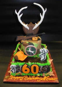 Hunting 60TH Birthday Cake with edible antlers and riffle