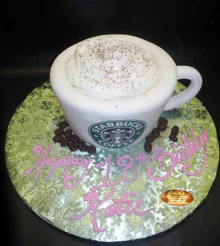 Starbucks Coffee Cup 3D Fondant Cake