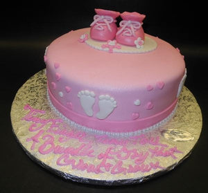 Pink and White Fondant Baby Shower Cake