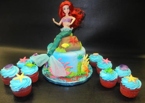 Little Mermaid Fondant Cake with Matching Cupcakes