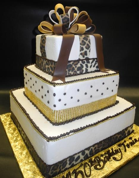 Cheetah Icing Cake with Edible Fondant Sugar Bow and Cheetah Ribbon