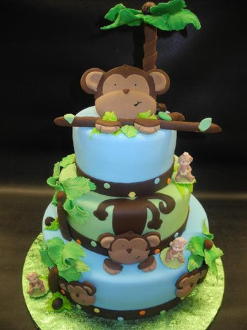Monkey Safari Fondant Baby Shower Cake
