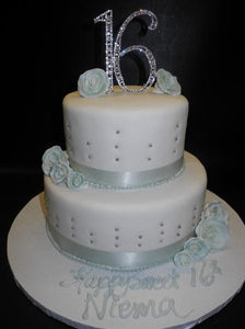 Sweet 16 White and Teal Fondant Cake with Diamond Cake topper