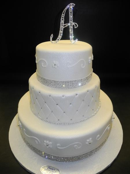 White Diamond Wedding Cake with Diamonds and Diamond Cake Topper