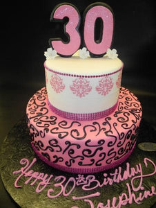 Damask 30th Birthday Pink and White Fondant Cake - B0684