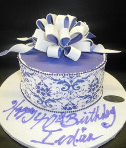 Damask Purple and White Fondant Cake - B0679