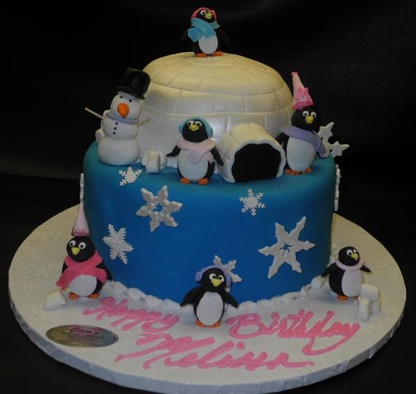 Winter Theme Igloo with Penguins Fondant Cake - CS0084