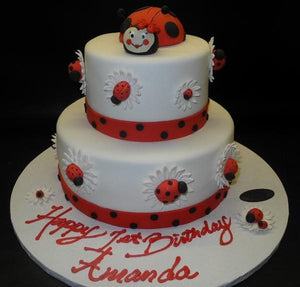 Lady Bug 1st Birthday Fondant Cake - B0571