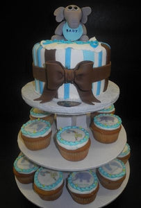 Elephant Fondant Cake with Edible Image Cupcakes