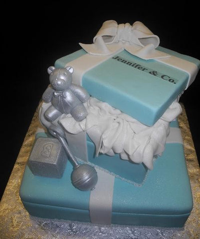 Tiffany Blue Gift Box Baby Shower Cake with Edible Teddy Bear and Rattle