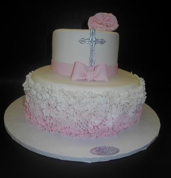 Ruffle Ombre Pink and White Cake