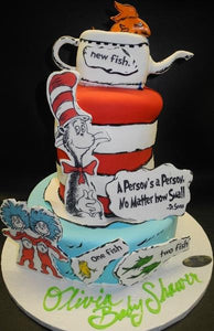 Cat in The Hat Theme Babyshower Cake 235