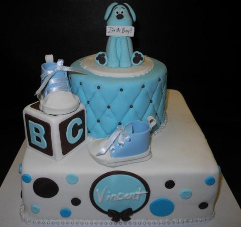 Blue and Black Dog and Blocks Babyshower Fondant Cake 236