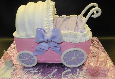 Pink and Purple Carriage Fondant Cake 237