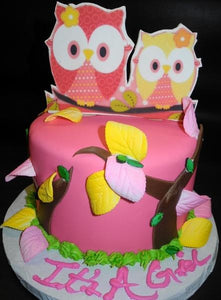 Pink and Yellow Owl Themed Babyshower Cake 238