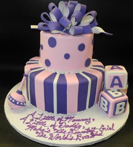 Pink and Purple Baby Shower Fondant Cake 240