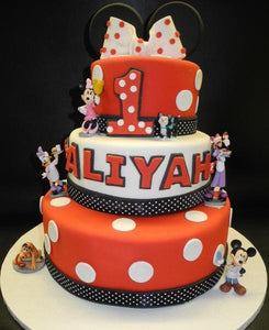 Incredible 3 Tier Minnie Mouse 1St Birthday Cake B0816 Circos Pastry Shop Personalised Birthday Cards Veneteletsinfo