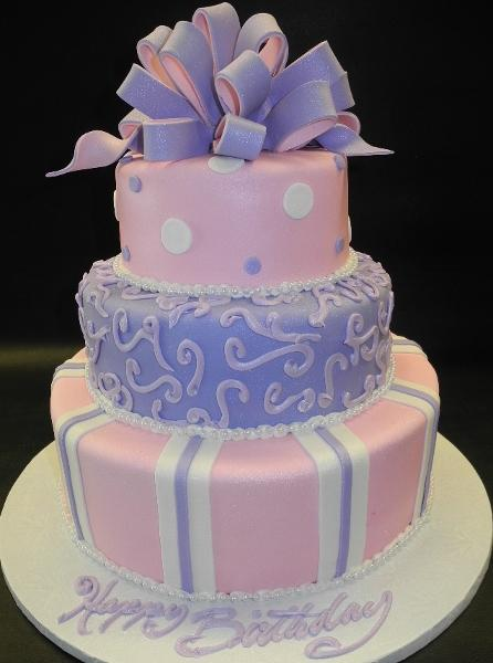 3 tier Pink and Purple 2 tone ribbon Birthday Cake