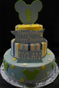 Blue Yellow and Green Baby Mickey Fondant  Birthday Cake