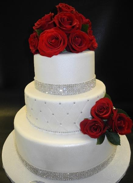 3 Tier Fondant Cake with Fresh Flowers
