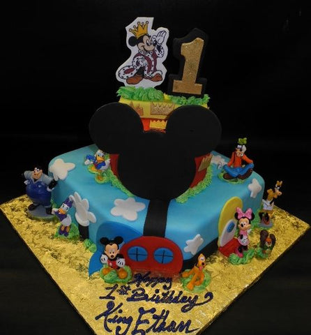 King Mickey 1st Birthday Fondant Cake 628