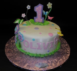 Flower Theme 1st Birthday Fondant Cake 629
