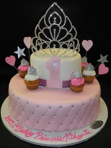 Princesses 1st Birthday with Mini Cupcakes Fondant Cake 630