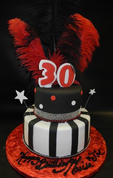 Red, White and  Black 2 Tier Fondant Cake with Feathers 633