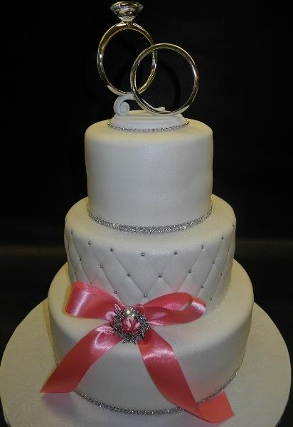 3 Tier Fondant Wedding cake with Pink Ribbon 140