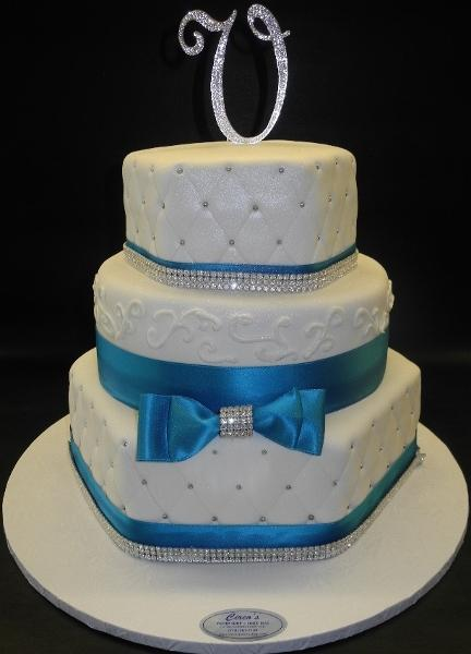 Fondant Octogan WEdding Cake with Topper 142