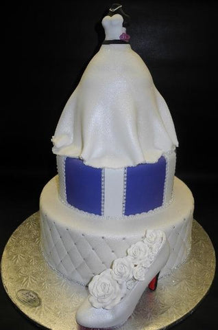 Dress Bridal Shower Fondant Cake with Edible Shoe