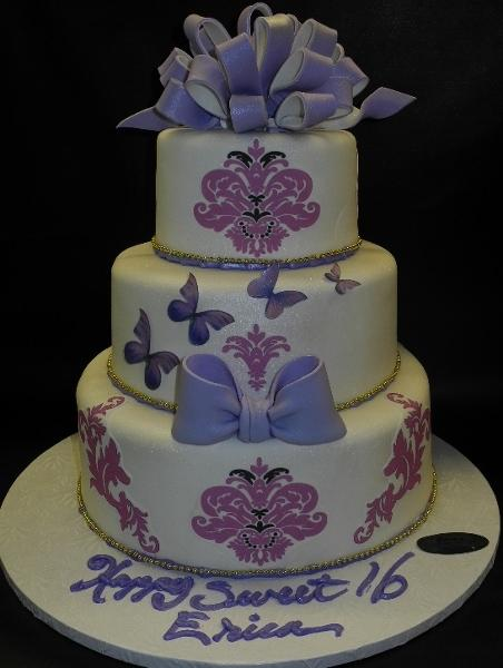 Sweet 16 Fondant Cake with 2D Lavander Demask and Butterfly Images 637
