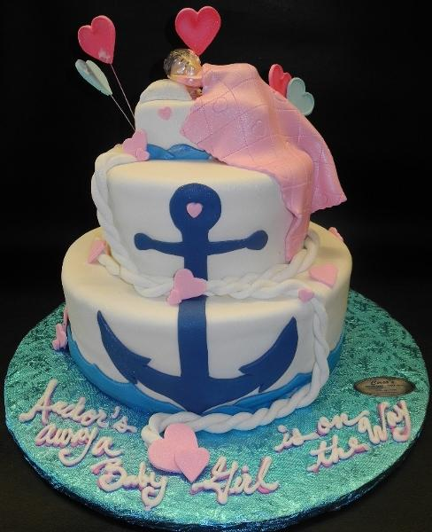 Nautical Pink and Blue Baby Shower Fondant Cake