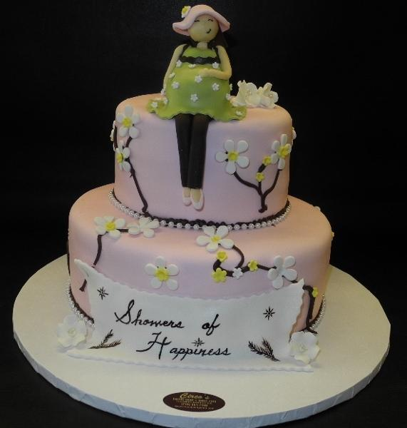 Fruit Blossom Baby Shower Cake with 3D Pregnant Mom on top