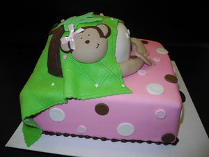 Baby Bottom Fondant Cake with 2D Monkey on side
