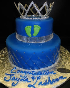 Prince Royal Blue Fondant Baby Shower Cake