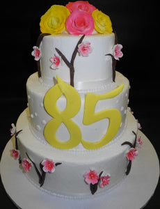 Fruit Blossom tiered fondant Cake for an 85th Birthday