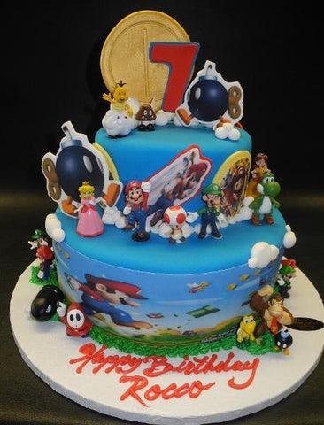 Mario Fondant Cake with Edible Cake Topper