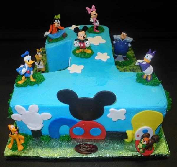 Number 1 Mickey Mouse Icing Cake with Fondant Cut-Outs, mickey mouse