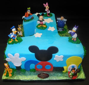 Sensational Number 1 Mickey Mouse Icing Cake With Fondant Cut Outs B0014 Birthday Cards Printable Trancafe Filternl