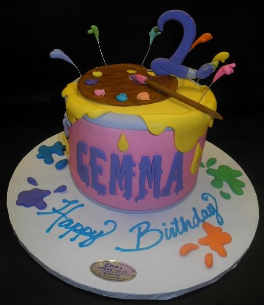 Paint Bucket Fondant Cake with Edible Paint Brush and Number