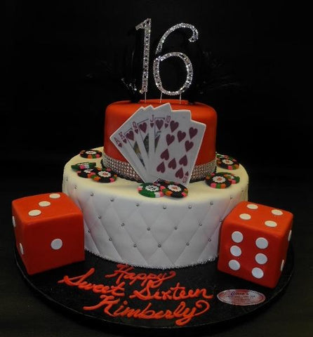 Sweet 16 Poker Fondant  Cake with Edible Dice and Cards