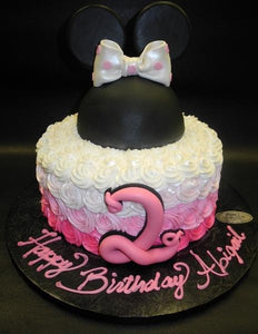Rosebud Minnie Mouse Cake with Fondant Hat and Number