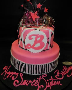 Zebra Pink and Black Cake