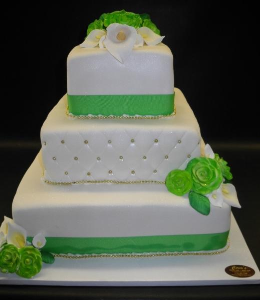 Green and White Wedding Fondant Cake