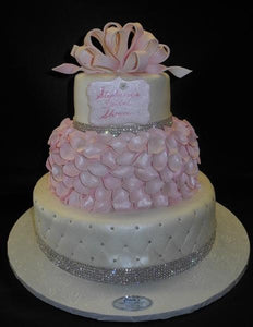 Petals Fondant Pink and White Cake with Diamonds around
