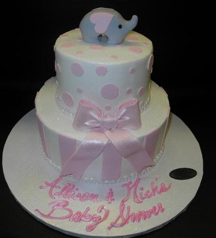 Elephant Baby Shower Icing Cake with Fondant Polka Dots and Bow