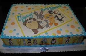 Looney Tunes Baby Shower Edible Image Cake
