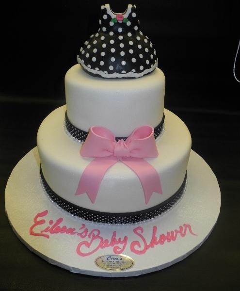 Dress Black and White Polka Fondant Cake