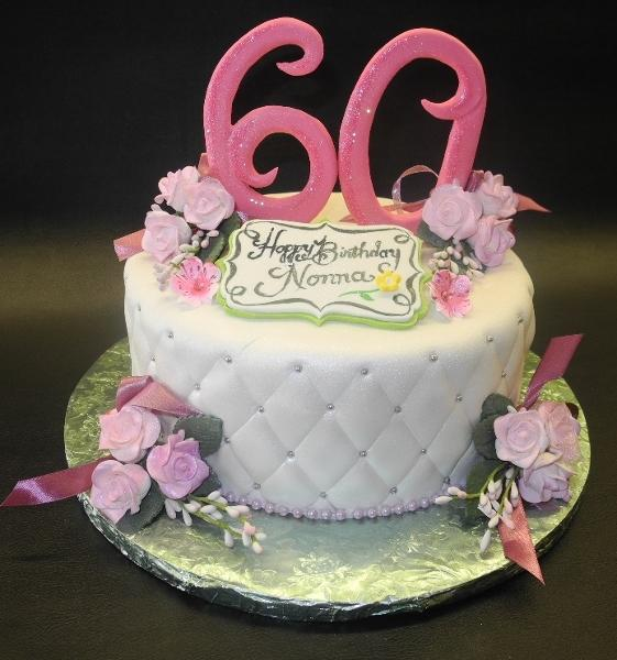 Garden 60th Birthday Fondant Cake
